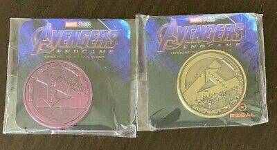 Avengers Endgame (2019) Opening Night Fan Event Promo Coin Set (Gold) & (Purple)
