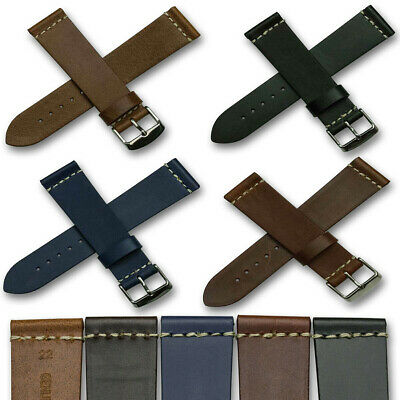 Mens TOUGH Leather Watch Strap Band 18mm 20mm 22mm 24mm tan blue black brown
