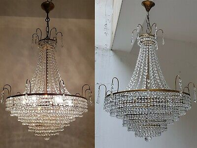Matching Pair of Antique Vintage Brass & Crystals French GIANT Chandeliers Light
