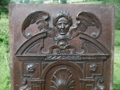STUNNING 19thc GOTHIC MAHOGANY PANEL CARVED WITH MALE DARK ANGEL & FEMALE HEAD