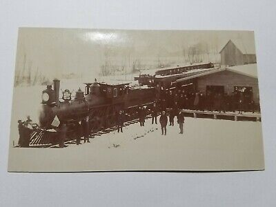 Vintage RPPC Presidents Funeral Train ? At Railroad Station Photo Postcard NR