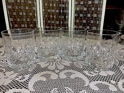 4 Whisky Glass Set Crystal Glasses Double Old Fashion Quality Ring Very Nice