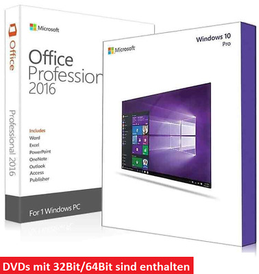 SET Microsoft Office 2016 Professional Plus + Windows 10 Prof 32+64Bit DVD CD