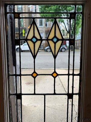 "1 of 4 Antique Stained Leaded Glass Window / Door Shutter 44"" x 16"""