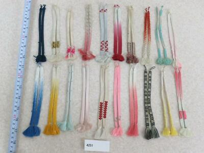 01v#4251 Lot of JUNK Silk Haori-Himo Flat Braid 20pcs Bundle Pack