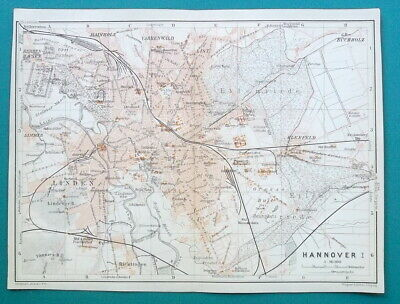 "GERMANY Hannover City Town Plan - 1912 MAP Baedeker 6 x 8"" (15,5 x 20 cm)"