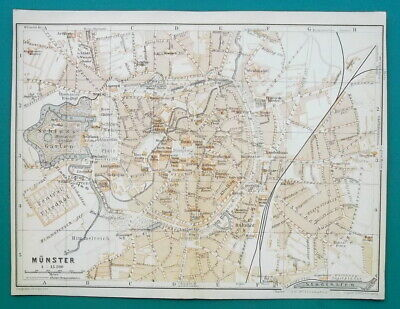 "GERMANY Munster City Town Plan - 1912 MAP Baedeker 6 x 8"" (15,5 x 20 cm)"
