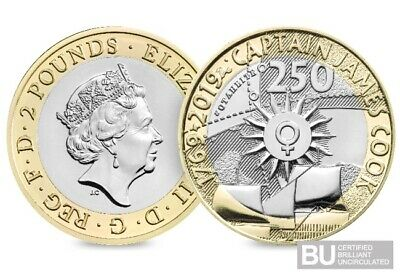 2019 Captain Cook 2 Pound Coin Brilliant Uncirculated Mint Condition Sealed 3/4