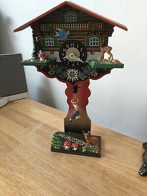 Vintage Wooden Swinging Girl Doll Clock w Bavarian Chalet House Original Papers