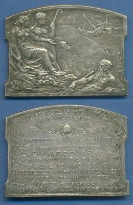 *NEPTUNE GOD Allegory Buenos Aires WATER WORKS 1913 ART NOUVEAU Medal Plaque