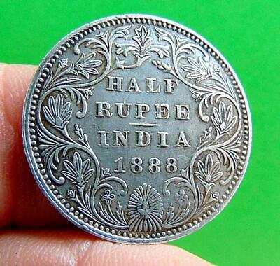 LUSTROUS  SILVER  VICTORIA  1888  1/2  RUPEE  from  INDIA...  LUCIDO_8  COINS
