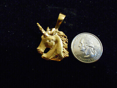 bling gold plated unicorn myth folklore pendant charm hip hop necklace jewelry
