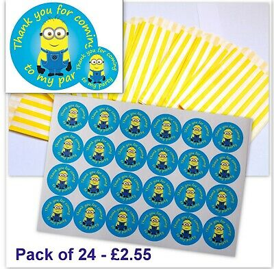 24x Minions Birthday Party Stickers (30mm) with Yellow Stripe Candy Bags Pack 24