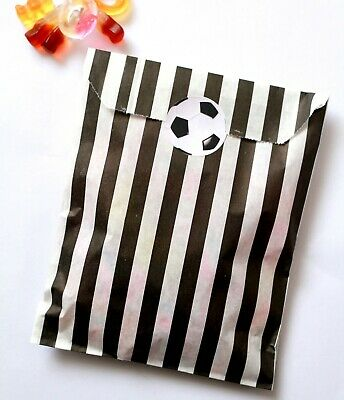 24x Football Birthday Party Stickers (30mm) with Black Striped Candy Paper Bags