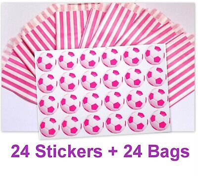 24x PINK Football Party Stickers (30mm) with Pink Striped Candy Bags - Pack  24