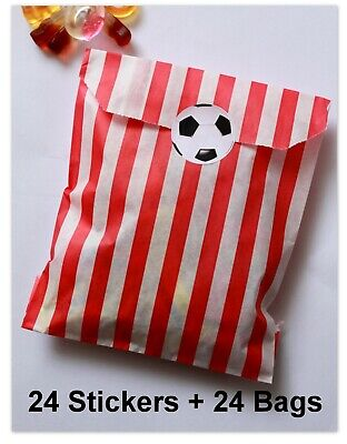 24x Football Birthday Party Stickers (30mm) with RED Striped Candy Bags- Pack 24