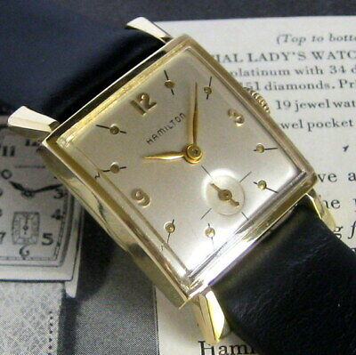 Mens NICE 1950s Hamilton Sinclair 14K SOLID GOLD 22 Jewels USA Flared Lug Watch