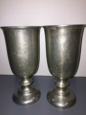 Two Primitive Antique Pewter Goblets Gray Colonial Style Country Americana U.s.a
