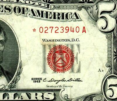 ** STAR ** $5 1963 United States Note  ** MORE CURRENCY FOR SALE **