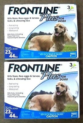2 (3 Packs) Merial Frontline Plus Blue for Dogs 23 - 44 lbs NEW in Box