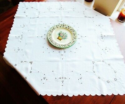 """Antique White Irish Linen Tablecloth Hand - Embroidered Eyelet  33"""""""