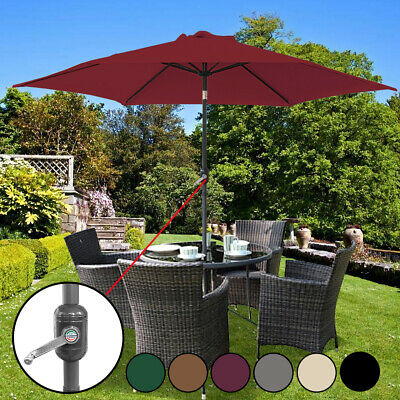 2.3M 2.7M 3M Round Garden Parasol Sun Shade Outdoor Patio Umbrella W/ Crank Tilt