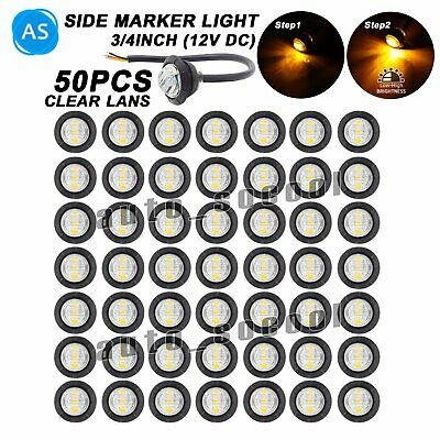 """50 X 3/4 """" Small Round Clear Lens Amber 3 LED Side Marker Button Truck Light 12v"""