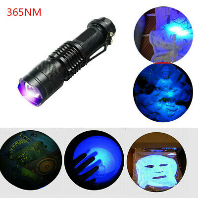 395/365 nM UV Ultra Violet LED Flashlight Blacklight Light Inspection Lamp Torch