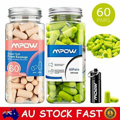 60 Pairs Mpow Noise Cancelling Ear Plugs 34dB NRR Hearing Protection Earplugs AU
