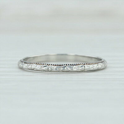 Art Deco Floral Engraved Wedding Band - 18k White Gold Size 7 Ring Women's