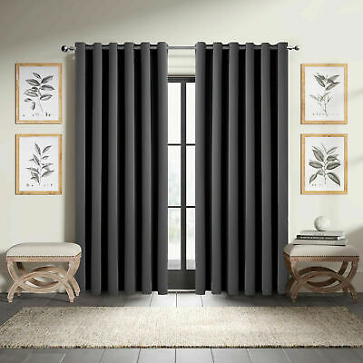 Pair of Door THERMAL BLACKOUT CURTAINS READY MADE EYELET RING TOP +TIE BACKS UK