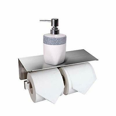 Crown Toilet Paper Roll Holder With Shelf Stainless Steel Bathroom Double Roll P