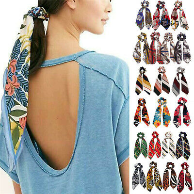 New Print Ponytail Scarf Bow Elastic Hair Rope Tie Scrunchies Ribbon Hair Bands