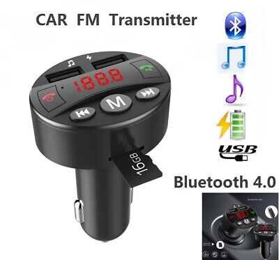 Auto Bluetooth 4.0 FM Transmitter KFZ Adapter MP3 Player SD Dual USB Ladegerät