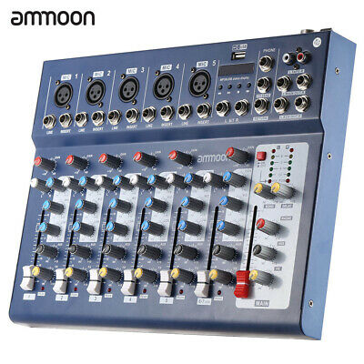 ammoon F7-USB 7-Channel Blue Digtal Mic Line Audio Sound Mixer Console New K9I7