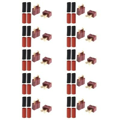 10 Pairs Ultra T-Plug Connectors Deans Style Male Female with 20x Shrink Tube