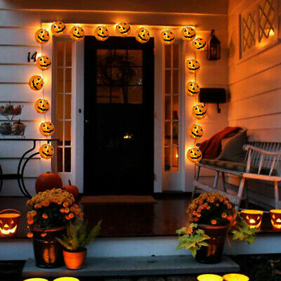 10 LED Pumpkin String Fairy Lights Lantern String Halloween Party Home Props