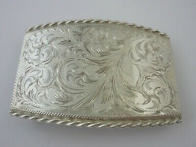 Superb American Fritch brothers Hand Engraved Sterling Silver Belt Buckle - $450