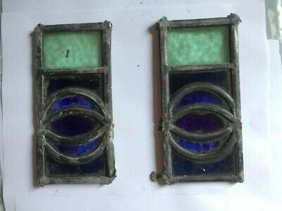 2 x Old pieces of stained glass spares repairs
