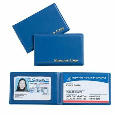 """3-Pack Medicare Card ID Holder Protector with 2 Clear Card Sleeves, 3.8"""" x 2.5"""""""