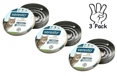 3PACK Seresto Flea and Tick Collar for Cats BAYER Provide 8 Months Protection