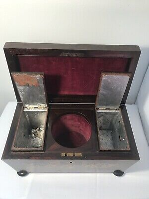 Antique Style Regency Rosewood Brass Inlaid Sarcophagus Tea Caddy On Squat Feet