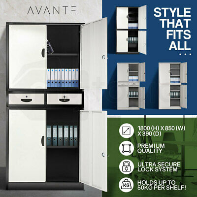 AVANTE Stationary Cabinet Office Metal Lockable 4 Storage Cupboard Door Drawers