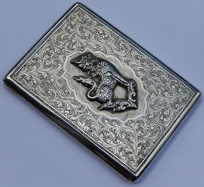 Fine and Rare Antique Burmese Chinthe (Dog of Fo) Solid Silver Cigarette Case