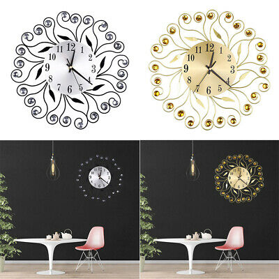 Modern Luxury 3D Wall Clock Metal Diamante Flower Home Office Living Room Decor
