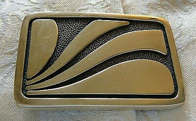 "Vintage Solid Brass BTS Waves Belt Buckle Made in the USA Free S&H 2 5/8"" 1 3/4"""