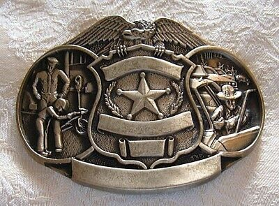 VTG Solid Brass Police Engravable Belt Buckle By ADM FREE SHIPPING Detailed NOS!