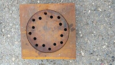 "Vintage 2 piece Cast Iron Floor/Deck Basement Drain 9 X 9"" X 2"" pipe size"
