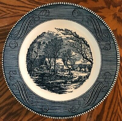 "Royal China Currier and Ives The Old Grist Mill 10"" Blue Dinner Plate Lot of 10"
