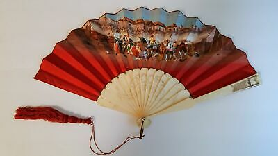 "Antique 19C Hand Painted Fan Bovine Bone Bull Fight ""Recuerdos"" Stunning Quality"